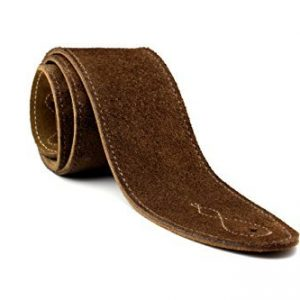 Soft Suede Wide Guitar Strap with Cream Stitching (Free Plectrums) (Brown)