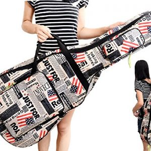 SPJ: American Flag Pattern Acoustic Guitar Gig Case Waterproof Shockproof Dual Shoulder Strap Bag 41 Inches