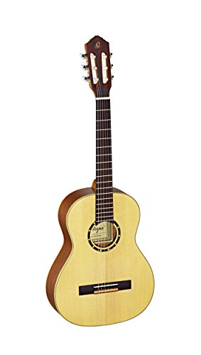 Ortega Guitars R121-3/4 Family Series 3/4 Body Size Nylon 6-String Guitar with Spruce Top and Mahogany Body, Satin Finish