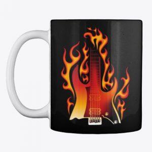 Taza guitarra en llamas