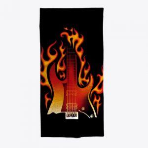 Toalla guitarra en llamas